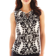 Liz Claiborne Sleeveless Smocked Print Shell Top