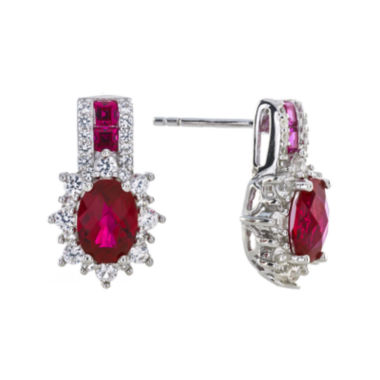 jcpenney.com | Lab-Created Ruby and White Sapphire Sterling Silver Earrings