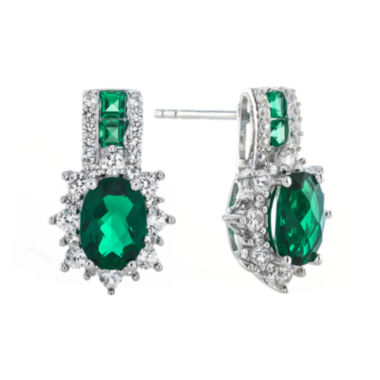 jcpenney.com | Lab-Created Emerald and White Sapphire Sterling Silver Earrings