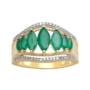 Genuine Emerald and 1/6 CT. T.W. Diamond 10K Yellow Gold Ring