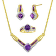 Genuine Amethyst and Lab-Created White Sapphire Traditional Jewelry