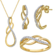 1/10 CT. T.W. Diamond 10K Yellow Gold Swirl Jewelry