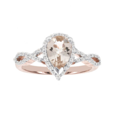 jcpenney.com | Blooming Bridal Genuine Pear Morganite and Diamond 14K Rose Gold Infinity Ring