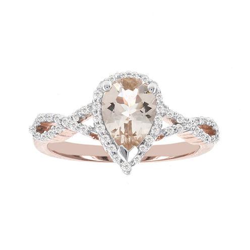 Blooming Bridal Genuine Pear Morganite and Diamond 14K Rose Gold Infinity Ring