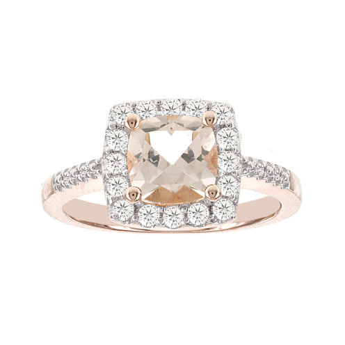 Blooming Bridal Genuine Cushion-Cut Morganite and Diamond 14K Rose Gold Ring