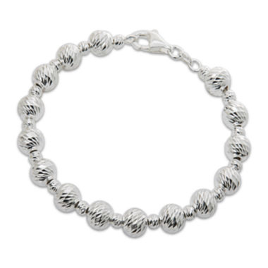 jcpenney.com | Sterling Silver Diamond-Cut Graduated Bead Bracelet