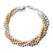 Tri-Tone Beaded Twist Bracelet