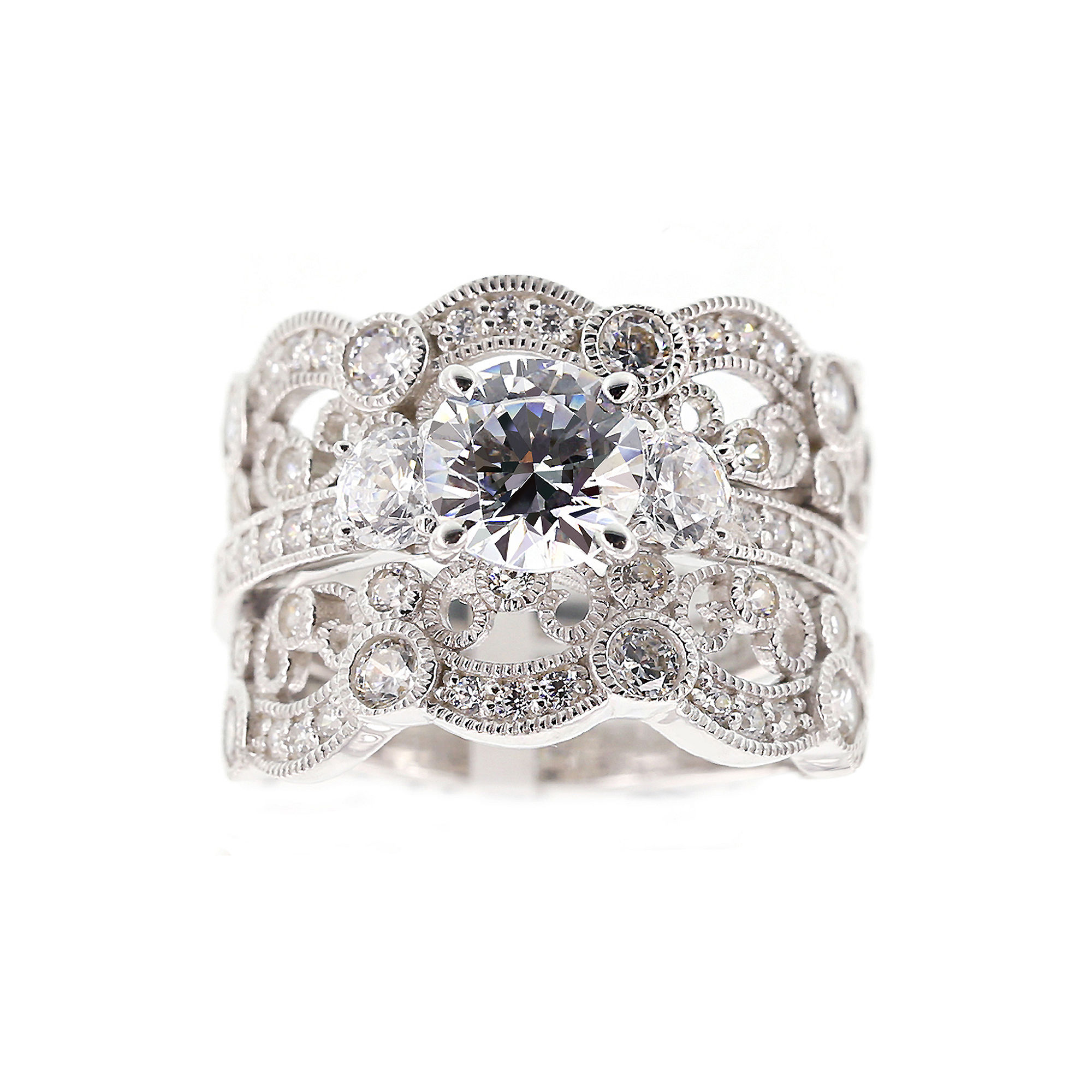 DiamonArt Cubic Zirconia Sterling Silver Vintage-Style Bridal Ring and Guard Set