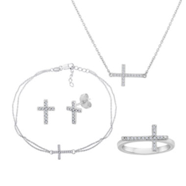 jcpenney.com | 1/10 CT. T.W. Diamond Sideways Cross Sterling Silver Jewelry