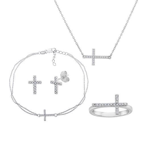 1/10 CT. T.W. Diamond Sideways Cross Sterling Silver Jewelry