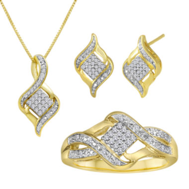 jcpenney.com | 1/10 CT. T.W. Diamond 14K Yellow Gold Over Sterling Silver Jewelry