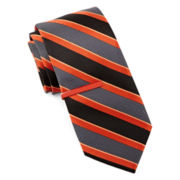 JF J. Ferrar® Textured Stripe Tie with Color Tie Bar