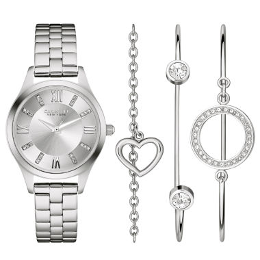 jcpenney.com | Caravelle New York® Womens Crystal Heart Bangle Watch Set