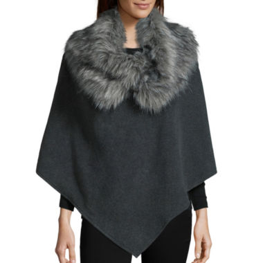 jcpenney.com | Mixit™ Fleece Poncho with Faux Fur Cowlneck