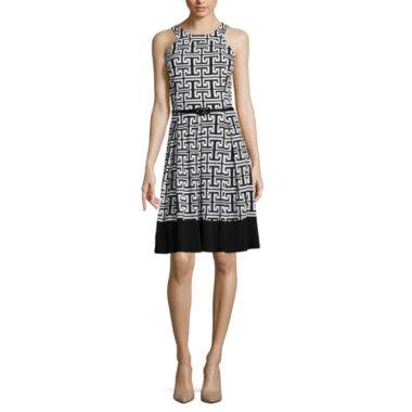 jcpenney.com | Tiana B. Sleeveless Greek Key Belted Fit-and-Flare Dress