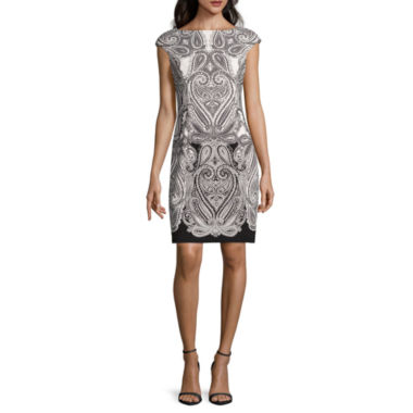 jcpenney.com | London Style Collection Short-Sleeve Ponte Medallion Sheath Dress - Petite