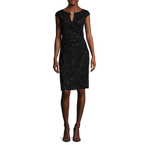 Ronni Nicole Sleeveless Sequin Ruched Sheath Dress - Petite