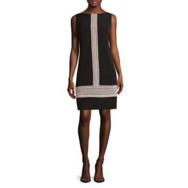 jcpenney.com | London Style Collection Sleeveless Lace Trim Crepe Shift Dress - Petite