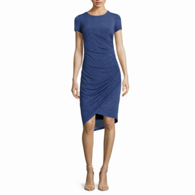 jcpenney.com | London Style Collection Short-Sleeve Denim Side-Ruched Sheath Dress - Petite