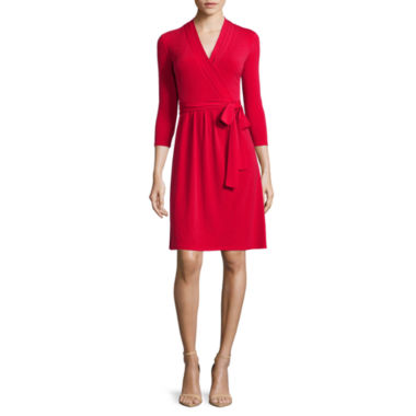 jcpenney.com | Liz Claiborne® 3/4-Sleeve Wrap Dress - Petite