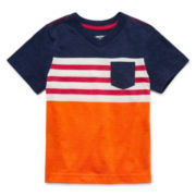 Arizona Short-Sleeve Stripe Pocket Tee - Toddler Boys 2t-5t