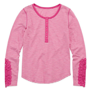 jcpenney.com | Arizona Long-Sleeve Henley Top with Crochet Detail - Girls 7-16