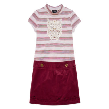 jcpenney.com | Lilt Burgundy Short-Sleeve Striped Suede Marsha Dress - Girls 7-12