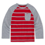 Okie Dokie® Long-Sleeve Raglan Stripe Cotton Tee - Preschool Boys 4-7