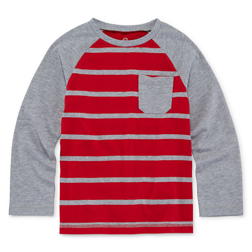 Okie Dokie® Raglan Stripe Tee - Preschool Boys 4-7