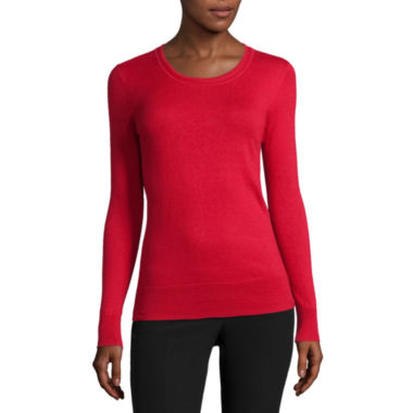 jcpenney.com | Worthington® Essential Long-Sleeve Pullover Sweater - Petite
