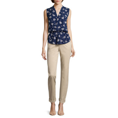 jcpenney.com | Liz Claiborne® Sleeveless Wrapped Peplum Top or Boyfriend Jeans