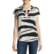 Liz Claiborne® Short-Sleeve Animal Blouse
