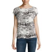 Liz Claiborne® Short-Sleeve Zebra Blouse
