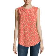 Liz Claiborne® Sleeveless Polka Dot Blouse