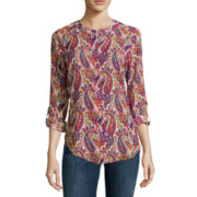 Liz Claiborne® Long-Sleeve Roll-Tab Blouse