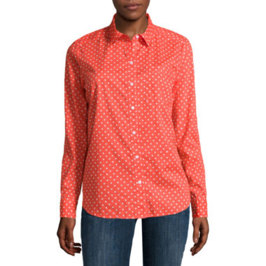 Liz Claiborne® Long-Sleeve Button-Down Cotton Shirt - Tall - JCPenney
