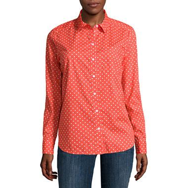 Liz Claiborne® Long-Sleeve Button-Down Cotton Shirt - Tall - JCPenney