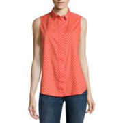 Liz Claiborne® Sleeveless Button-Front Polka Dot Shirt