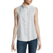 Liz Claiborne® Sleeveless Polka Dot Shirt - Tall