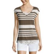 Liz Claiborne® Striped Lace Tee
