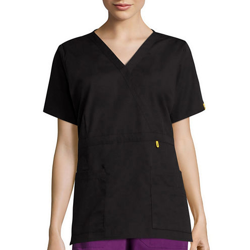 WonderWink® Womens Short-Sleeve Peek-A-Boo Pocket Top