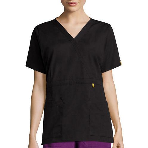 WonderWink® Womens Short-Sleeve Peek-A-Boo Pocket Top - Plus