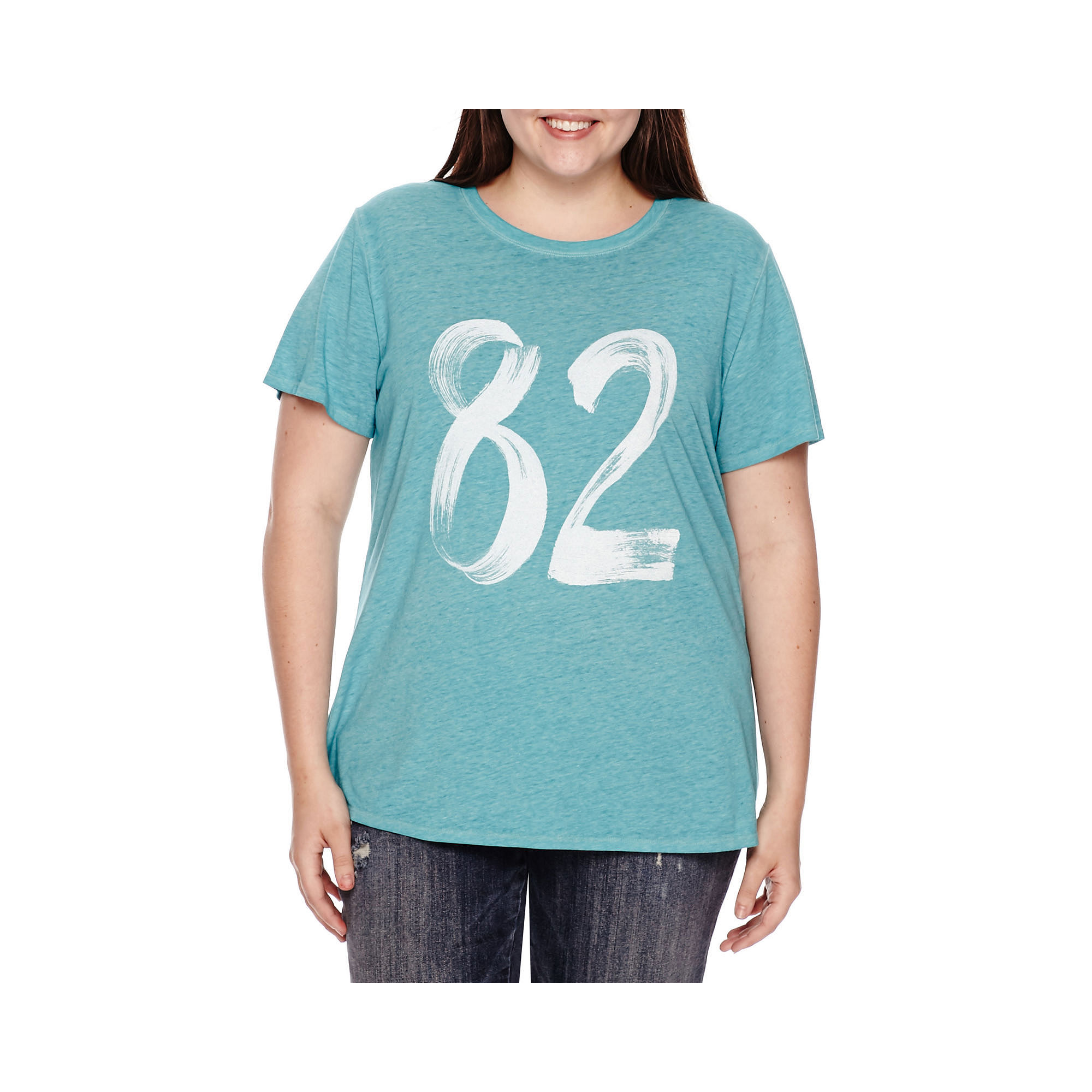 Arizona Short-Sleeve Burnout Screen Tee - Juniors Plus plus size,  plus size fashion plus size appare