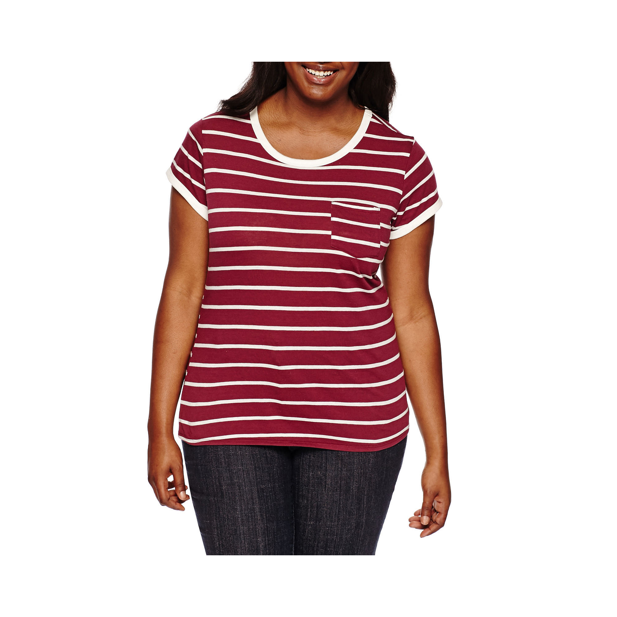 Arizona Short-Sleeve Striped Ringer Tee - Juniors Plus plus size,  plus size fashion plus size appare