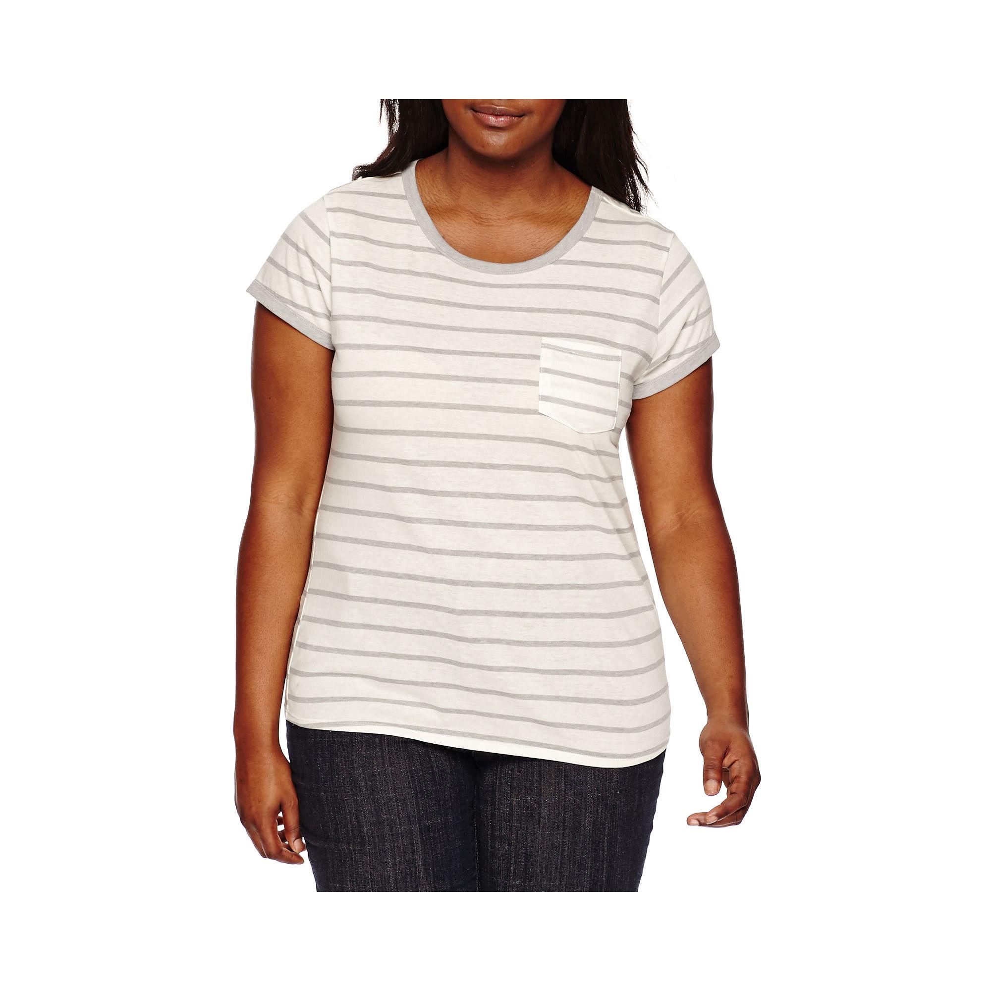 Arizona Short-Sleeve Striped Ringer Tee - Juniors Plus plus size,  plus size fashion plus size appare