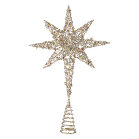 JCPenney Home White Frost Starburst Christmas Tree Topper