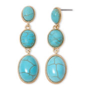 Monet® Aqua 3-Stone Drop Earrings