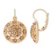 Monet® Gold-Tone Glass Cluster Drop Earrings