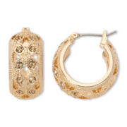Monet® Gold-Tone Glass Hoop Earrings