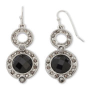 Liz Claiborne® Marcasite & Jet Stone Double Drop Earrings